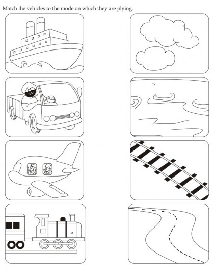 download english activity worksheet match the vehicles to the mode on which they are plying from. Black Bedroom Furniture Sets. Home Design Ideas
