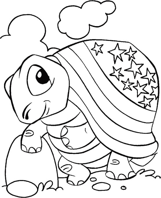4th of july tortise coloring page - Jumbo Coloring Pages
