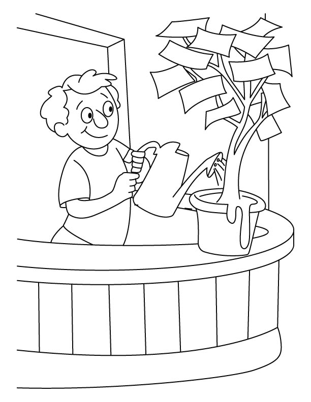 A boy giving water in the money plant coloring pages