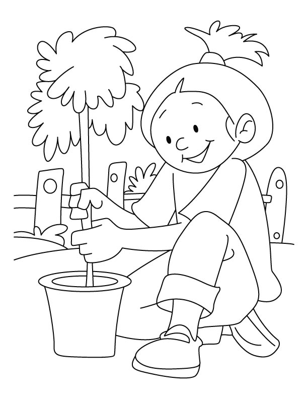 A girl planting tree on arbor day coloring pages