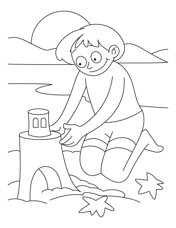 A Boy Making Castle With Sand On The Beach Coloring Pages Download Free A Boy Making Castle With Sand On The Beach Coloring Pages For Kids Best Coloring Pages