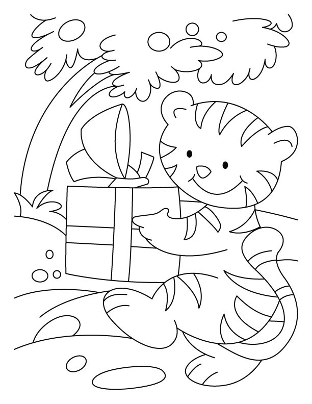 A cat going to attend birthday party with the gift coloring pages