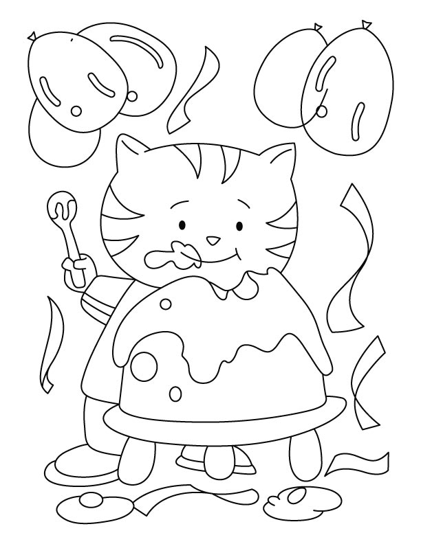 A cat eating yummy birthday cake coloring pages