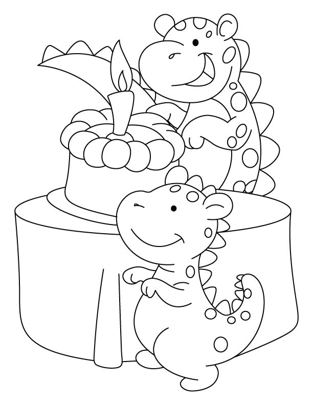Dinosaur celebrating his birthday coloring pages