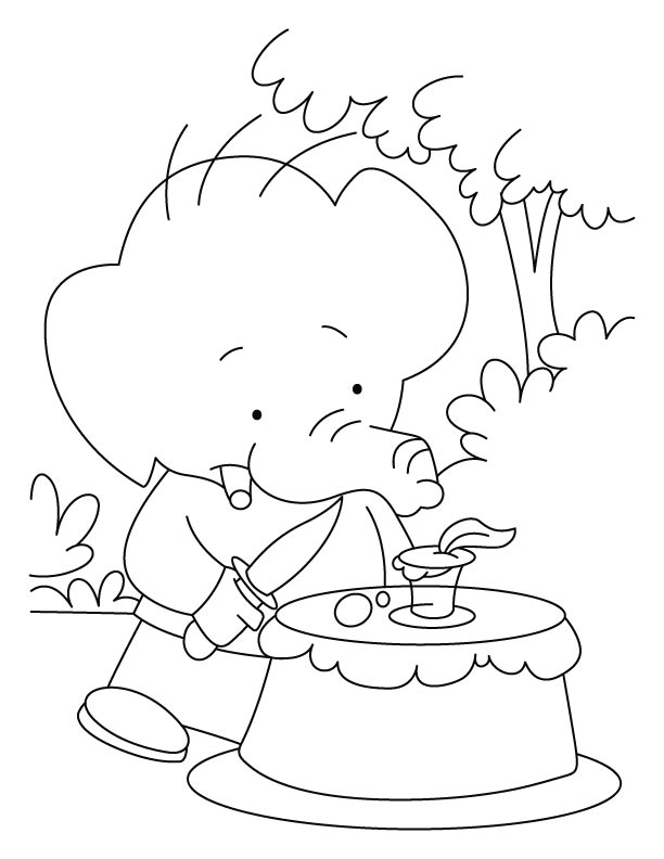 Elephant baby celebrating his birthday in jungle coloring pages
