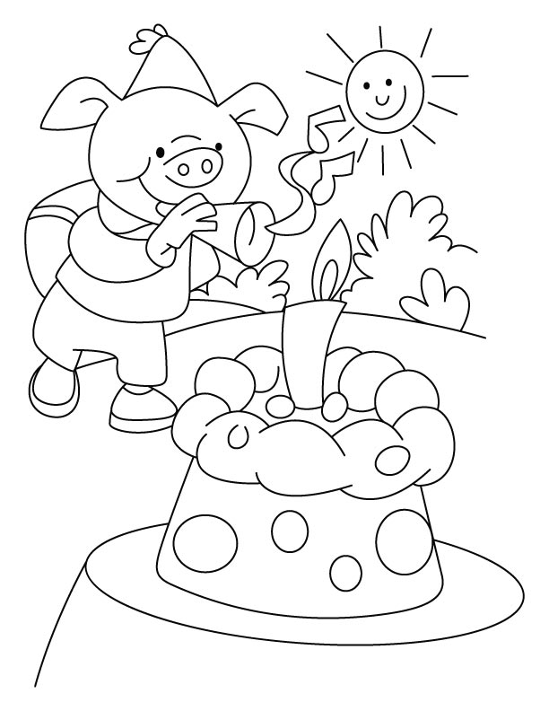 Piggy celebrating birthday in the park coloring pages