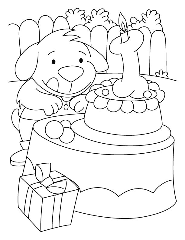 A puppy with the birthday cake coloring pages