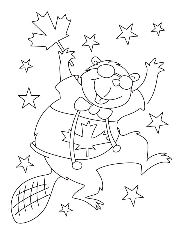 Happy beaver waving Canada flag coloring pages