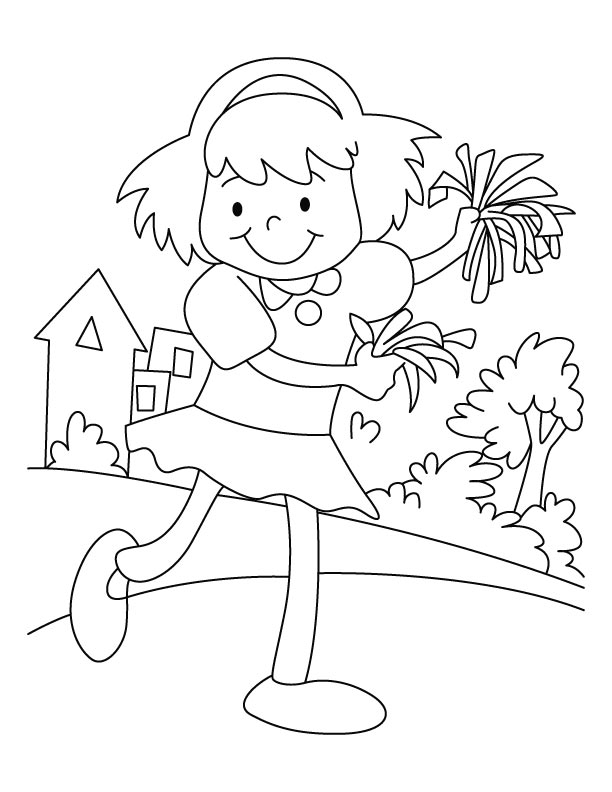 Happy cheerleader coloring page download free happy for Printable cheerleading coloring pages