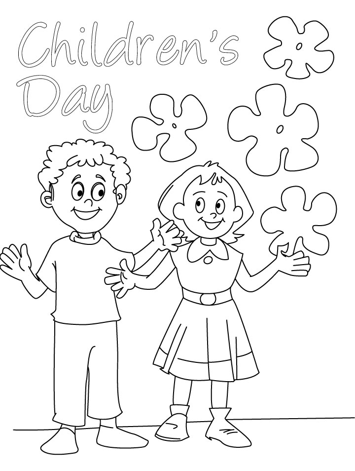 Day of the children coloring page