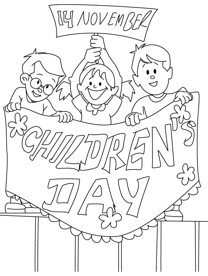 Childrens Day Coloring Page Download