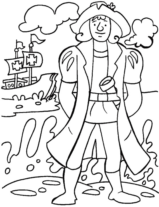 Columbus looking for a safe place to think over his finding coloring page