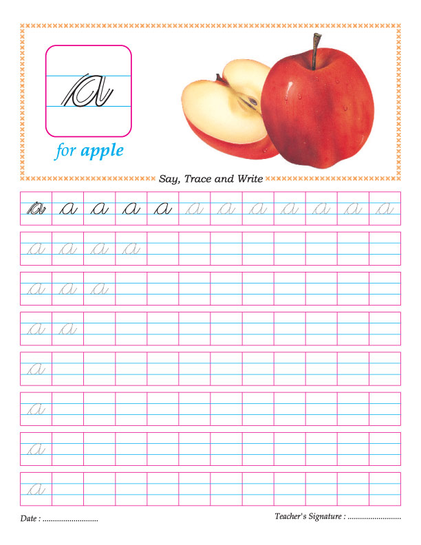 Cursive small letter a practice worksheet : Download Free ...