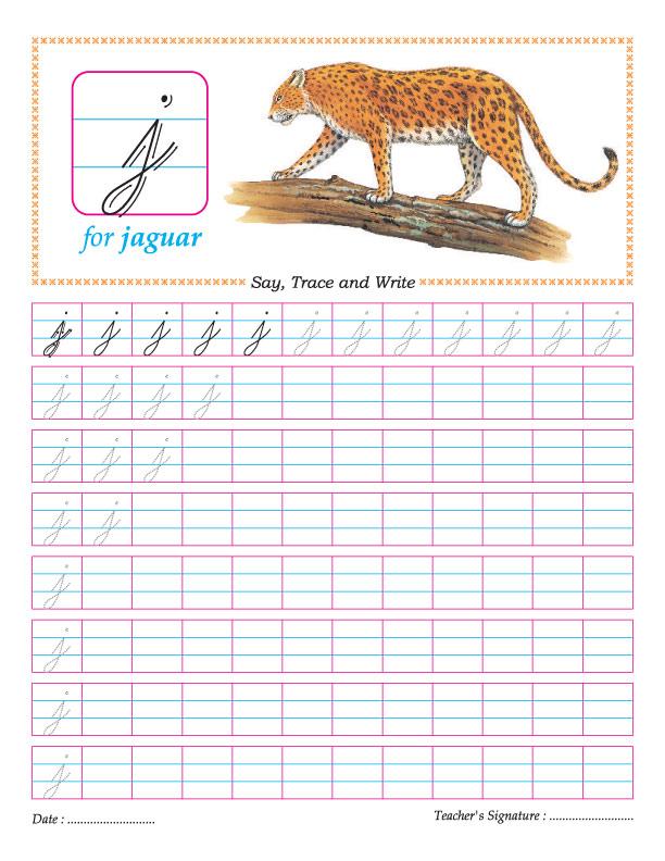 Cursive small letter j practice worksheet Download Free