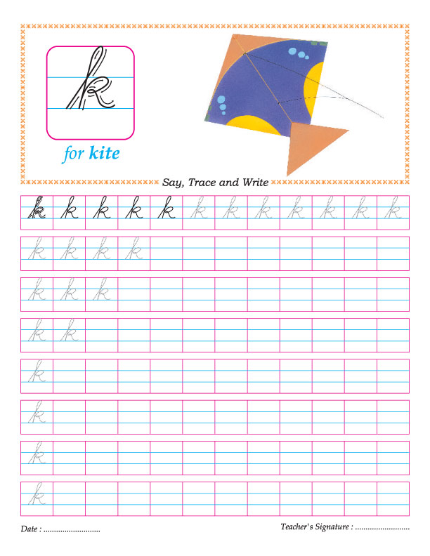 Cursive small letter k practice worksheet | Download Free ...