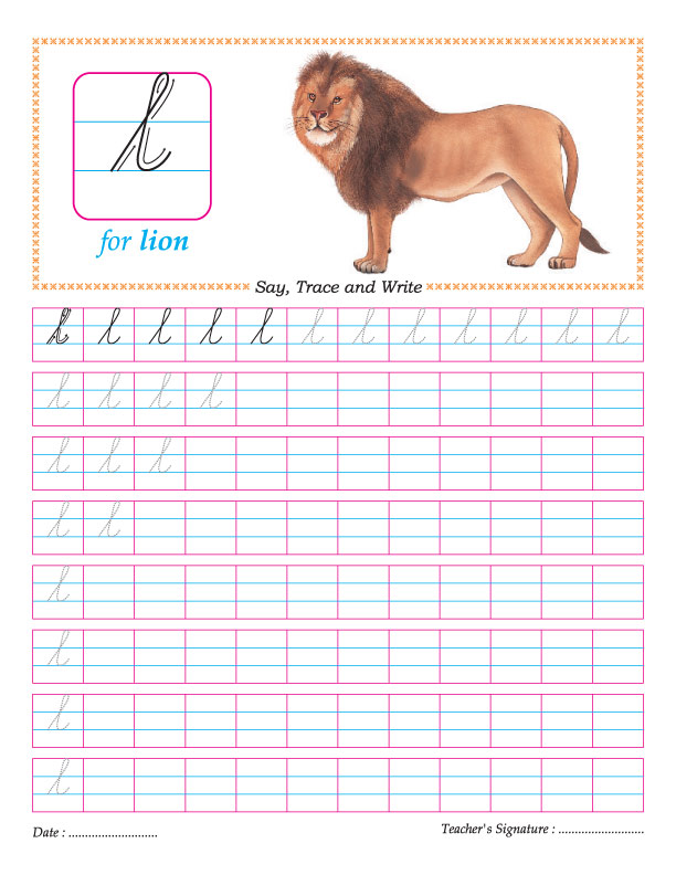 Cursive small letter l practice worksheet | Download Free Cursive ...