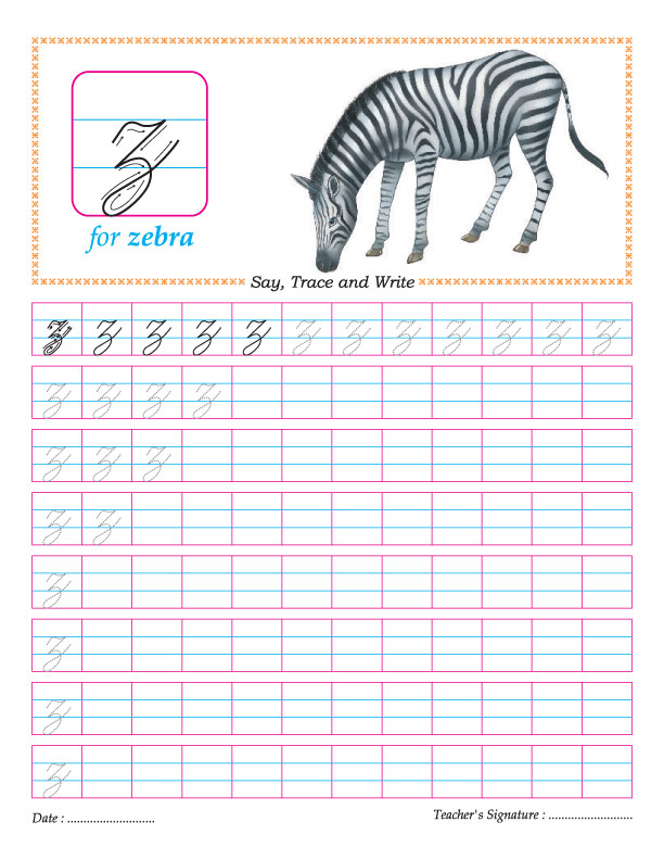 Cursive Small Letter Z Practice Worksheet Download Free