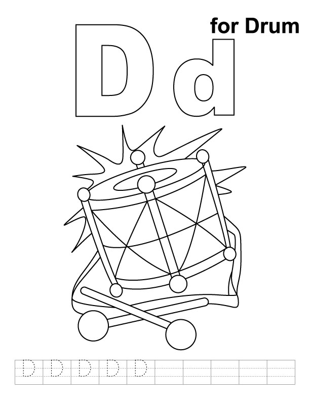 d for drum coloring page with handwriting practice