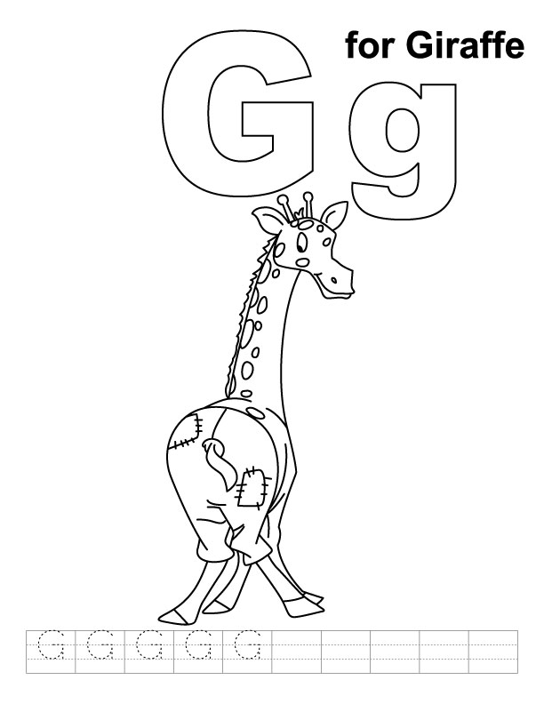 G for giraffe coloring page with handwriting practice for G coloring pages for kids