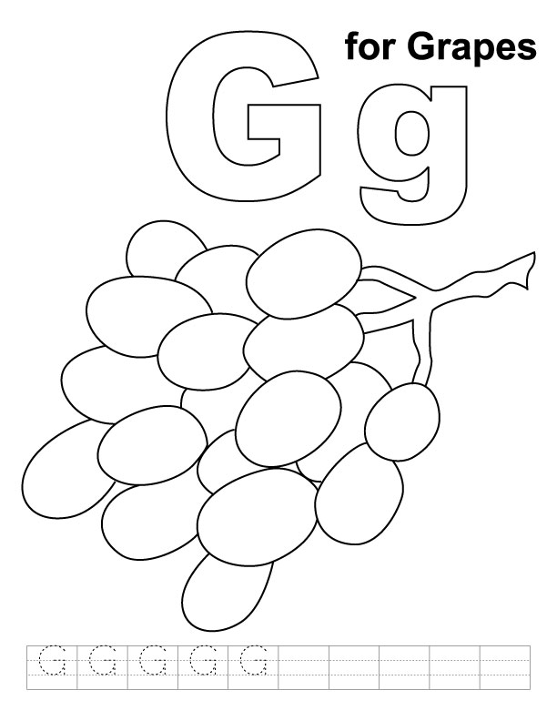 G for grapes coloring page with