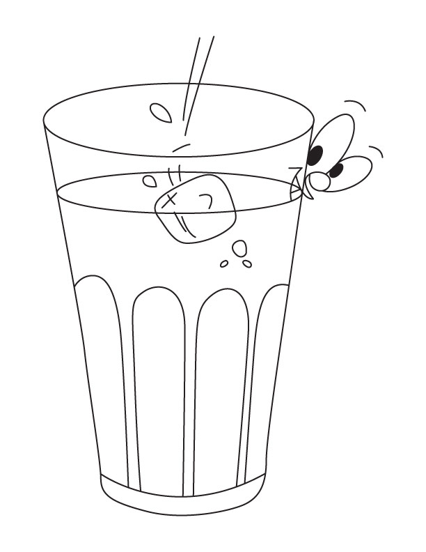 Free Coloring Pages Of Drawing A Glass Of Water