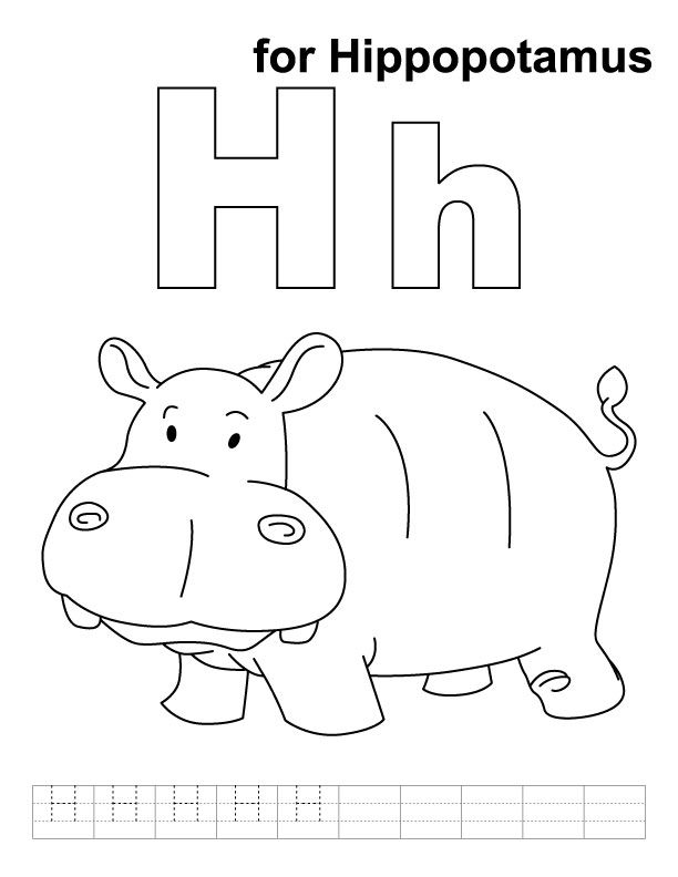 Free Coloring Pages Of H For Hippo
