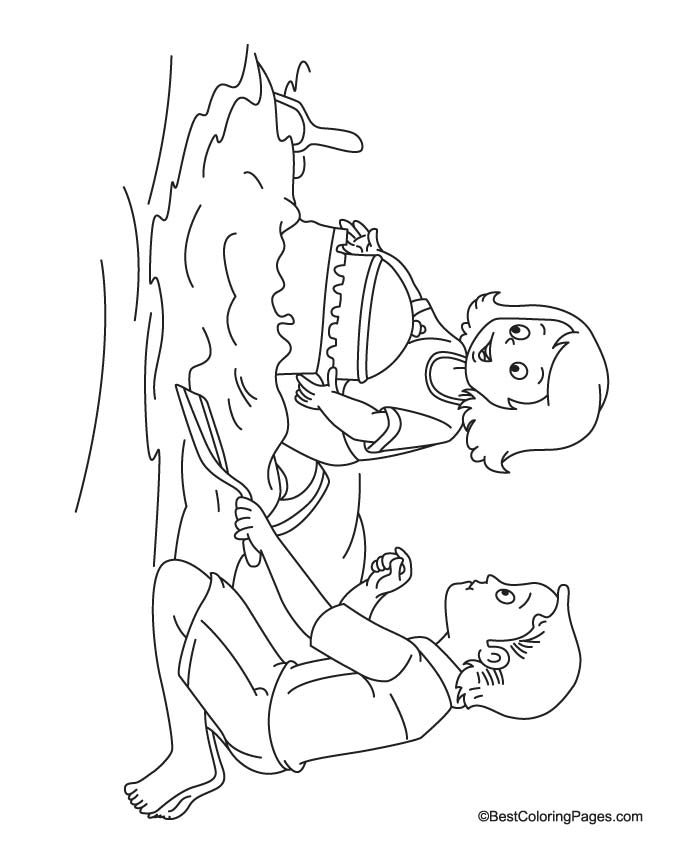 Kids making castle in sand coloring page
