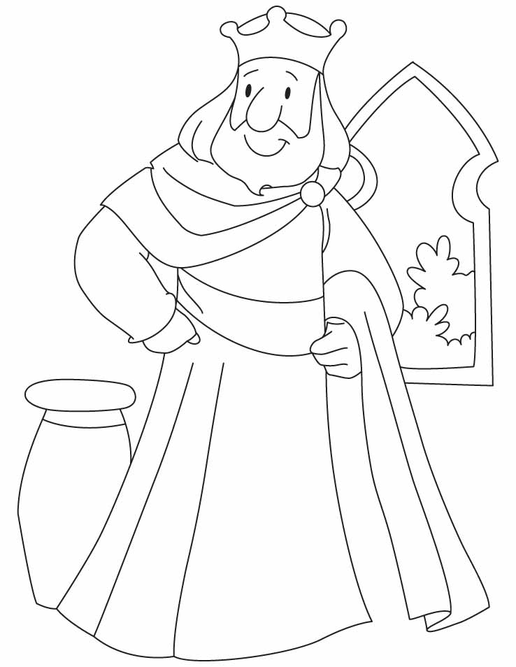 A king standing beside the window coloring pages for King coloring pages