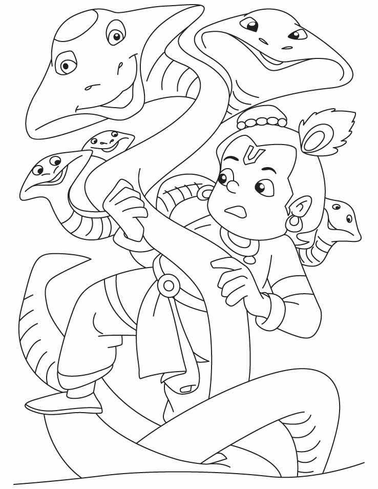 Lord Krishna, the slayer of kalia naag coloring pages