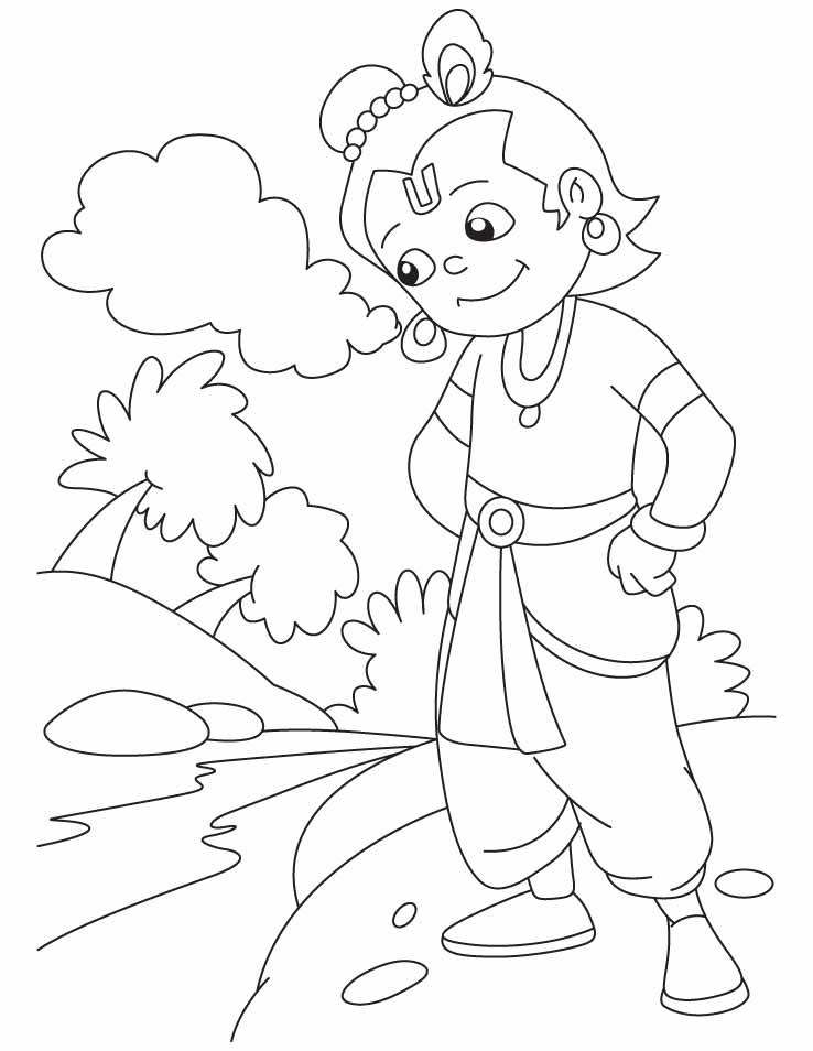 Hindu gods krishna coloring pages sketch coloring page for Krishna coloring pages