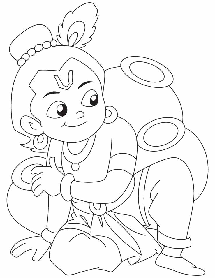 The gallery for lord krishna baby drawings for kids for Coloring pages of krishna