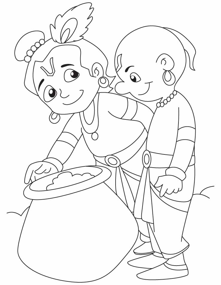 krishna pages for coloring - photo#8