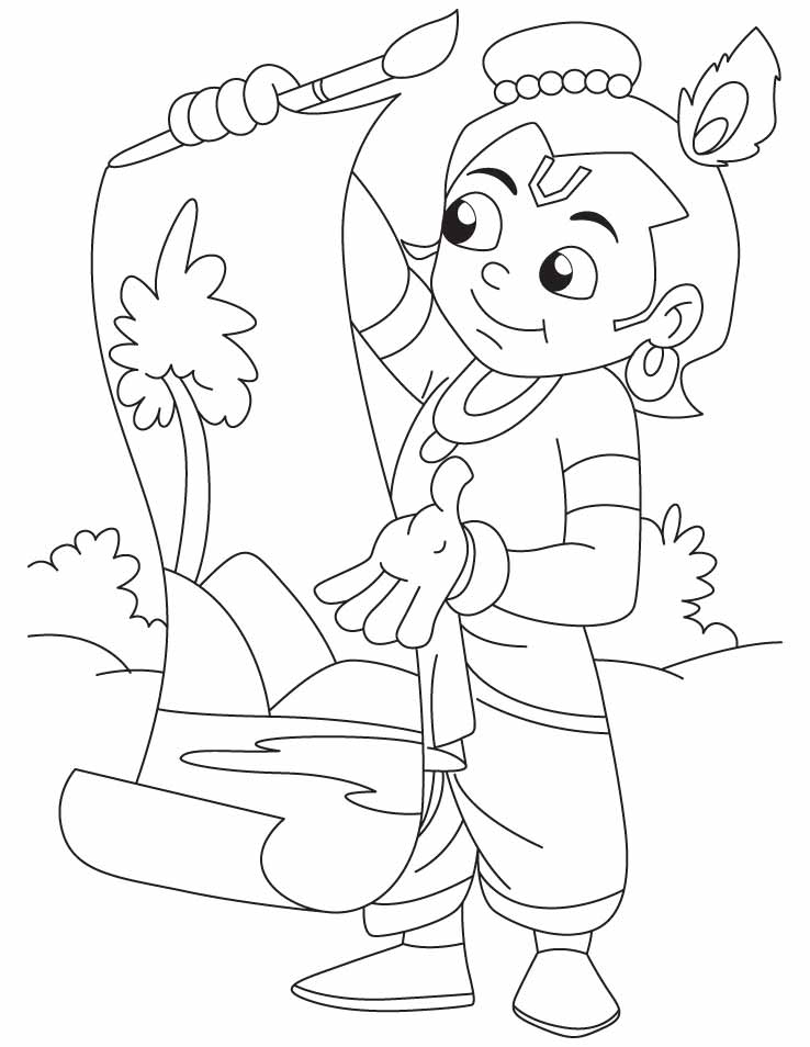 Krishna the great artist doing painting coloring pages