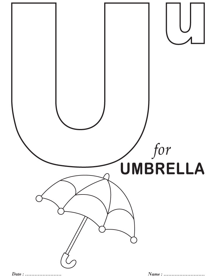 Printables alphabet u coloring sheets download free for Abc coloring pages for kids printable