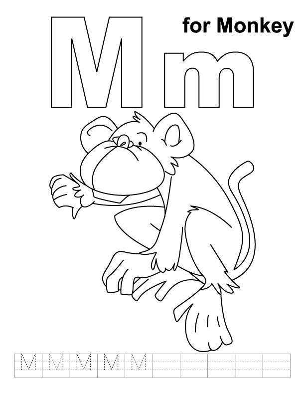 m for monkey coloring pages - photo #1