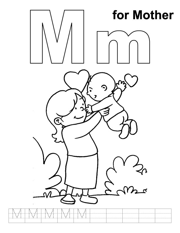 M for mother coloring page with