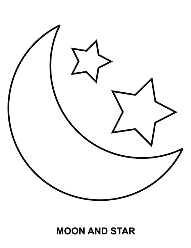 Moon and star coloring page Download