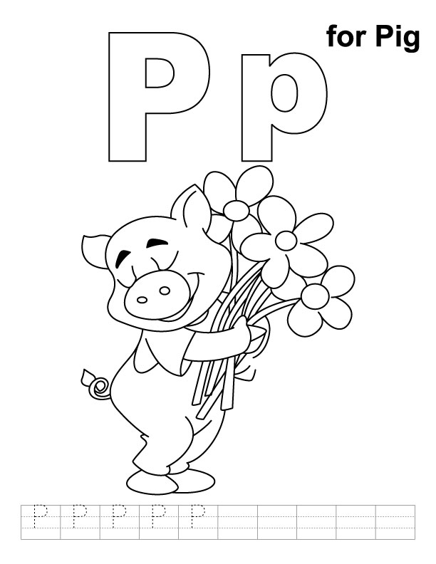 P for pig coloring page with handwriting practice ...