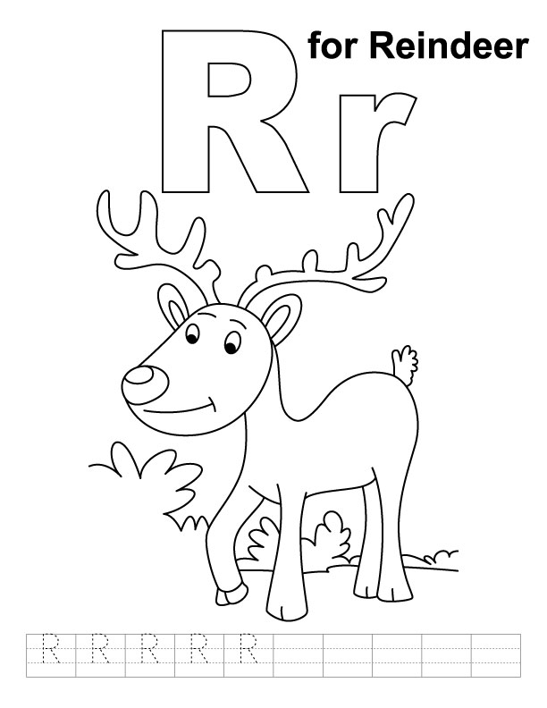 R for reindeer coloring page with