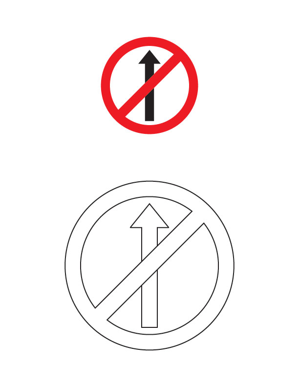 No entry traffic sign coloring page