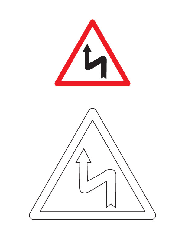 Left reverse bend traffic sign coloring page