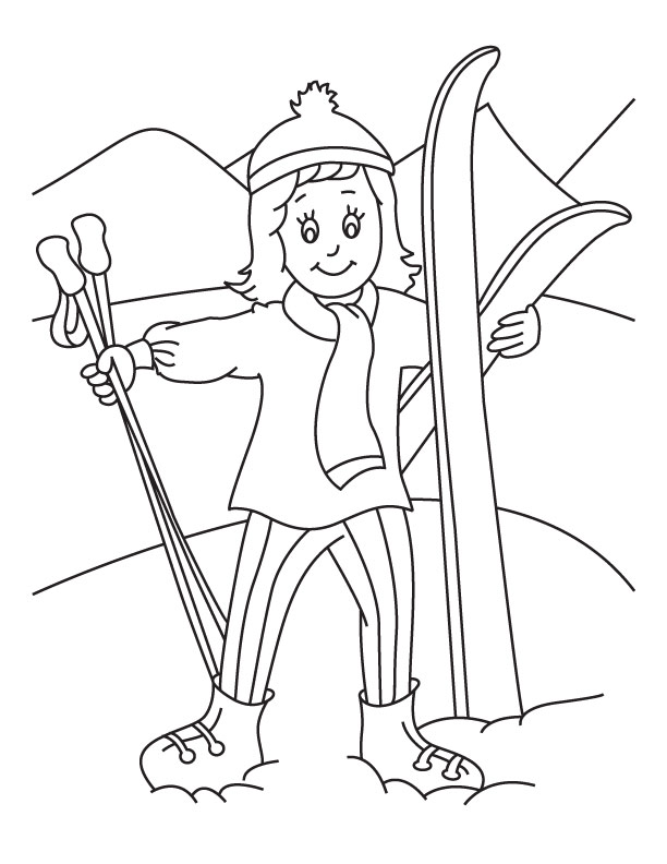 skiing coloring pages - skiing holiday coloring page download free skiing