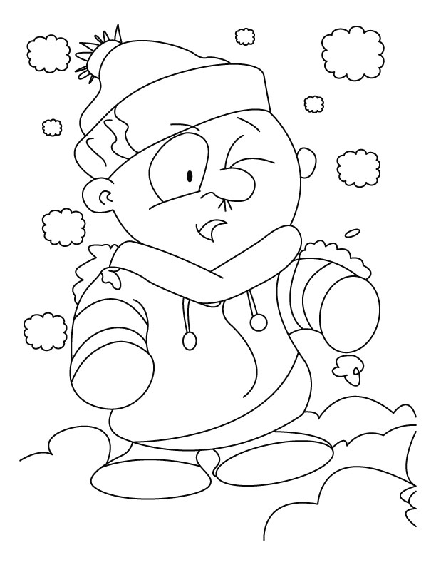 A boy disguise himself as a snowman coloring pages