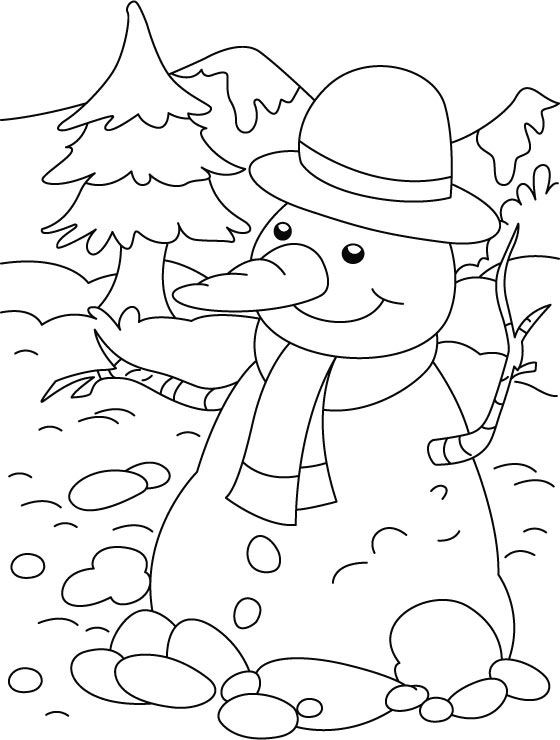Happy snowman with long nose coloring page