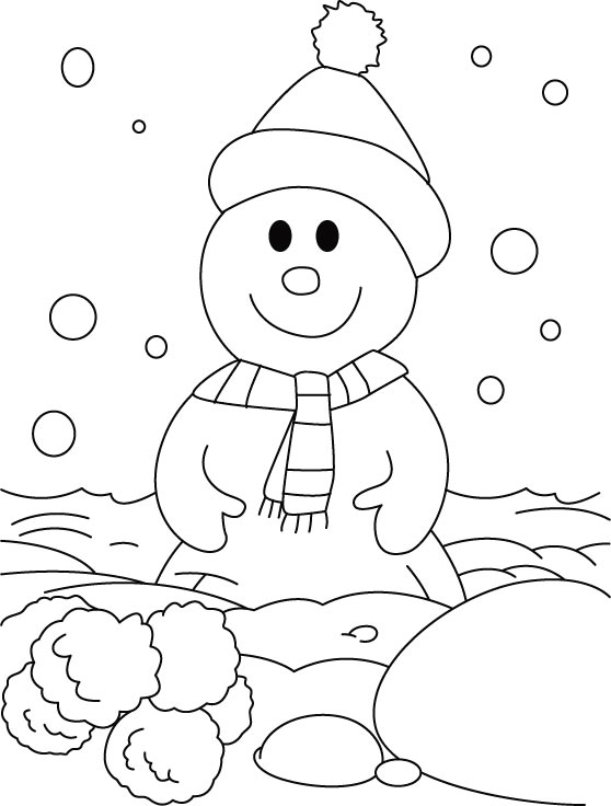 A happy snowman in the snow field coloring pages