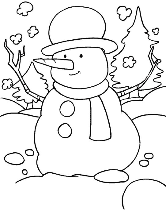A funny snowman in the snowy field with scarf and a hat coloring page