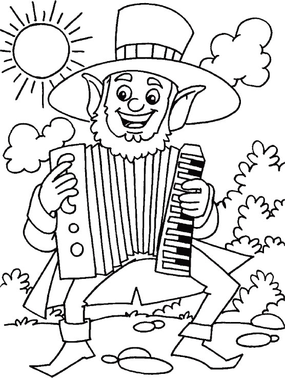 Musical feast for St. Patrick coloring page