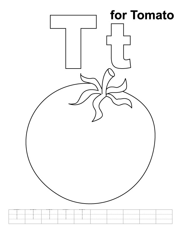 T for tomato coloring page with