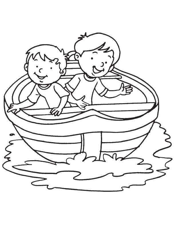 Two boy in a boat coloring page | Download Free Two boy in ...