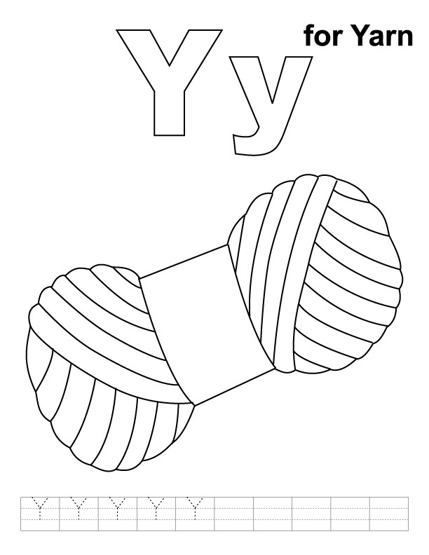 Y for yarn coloring page with handwriting practice ...